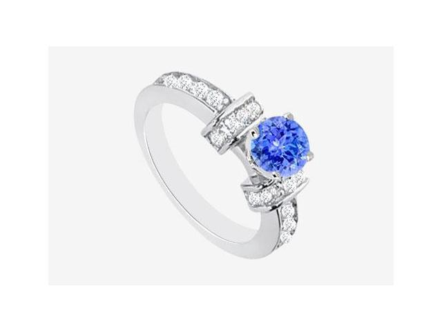 Diamond Engagement Rings with Tanzanite natural Prong Set in 14K White Gold 1.60 Carat TGW