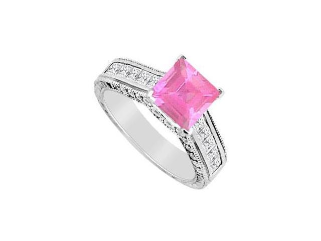Princess Cut Diamond and Pink Sapphire Engagement Ring 2.00 Carat TGW in 14K White Gold