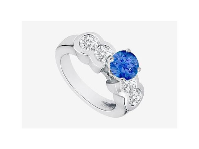 Diamond and Natural Sapphire Engagement Ring in 14K White Gold 2.20 Carat