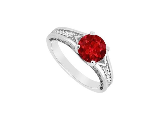 Natural Ruby and Diamond Brilliant Cut Engagement Ring in 14K White Gold 0.60 Carat TGW