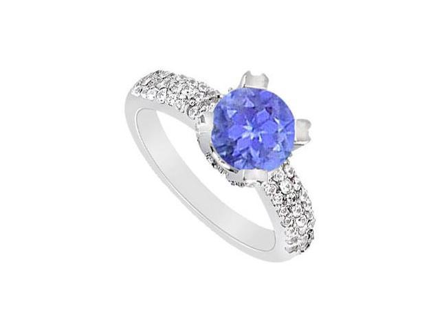 Three Row December Birthstone Created Tanzanite and CZ Engagement Ring in 14K White Gold 1 ct.tw
