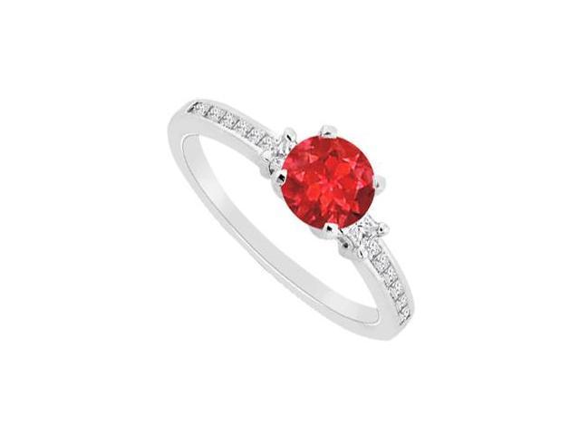 14K White Gold Princess Cut Cubic Zirconia and 1 Carat GF Bangkok Ruby Engagement Ring 1.30 CT T