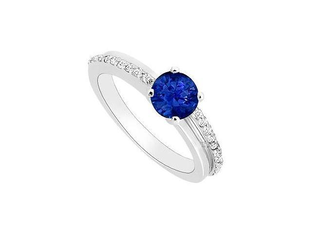 Created Sapphire and Cubic Zirconia Engagement Rings 14kt White Gold 0.50.ct.tgw