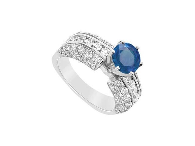 Sapphire and Diamond Engagement Ring  14K White Gold - 3.25 CT TGW