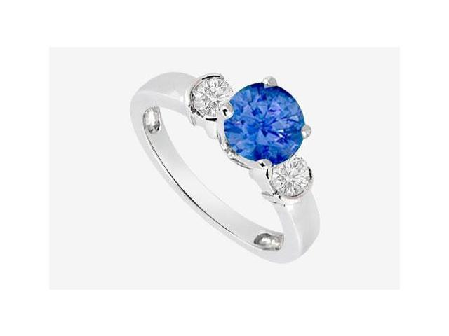 Natural Sapphire and Diamond Engagement Ring in 14K White Gold with 0.70 Carat TGW