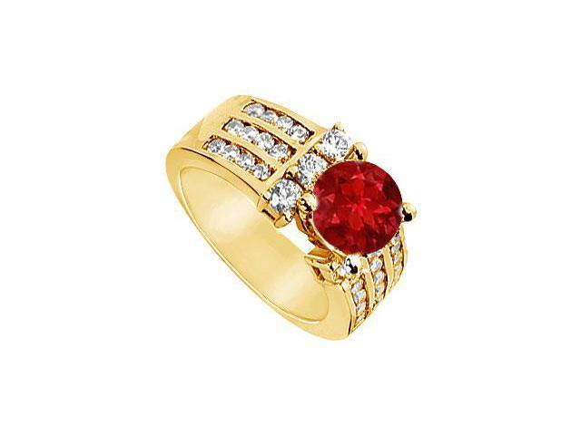 Ruby and Diamond Engagement Ring  14K Yellow Gold - 2.25 CT TGW