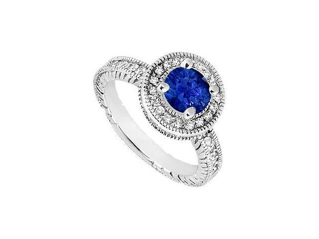 Sapphire and Diamond Halo Engagement Ring  14K White Gold - 1.50 CT TGW