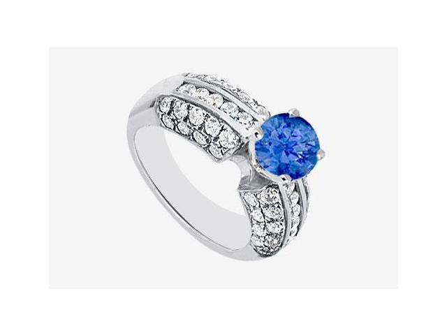 Natural Sapphire with side Diamond Engagement Ring 1.80 carat TGW in 14K White Gold