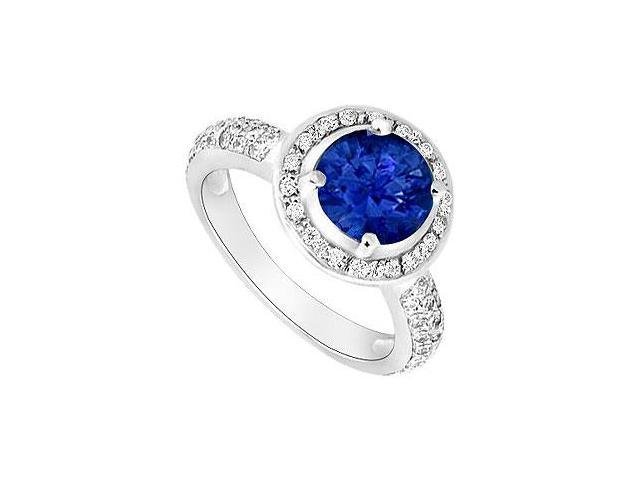 Created Sapphire and Cubic Zirconia Halo Engagement Rings 14kt White Gold 1.50.ct.tgw