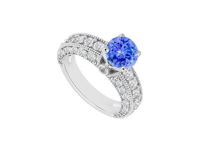 December Birthstone Created Tanzanite Milgrain Engagement Ring in 14K White Gold 2.00 ct.tgw