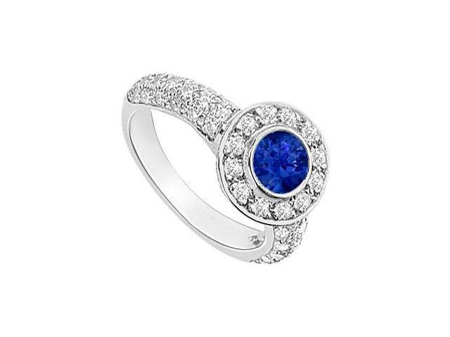 Sapphire and Diamond Halo Engagement Ring  14K White Gold - 2.25 CT TGW