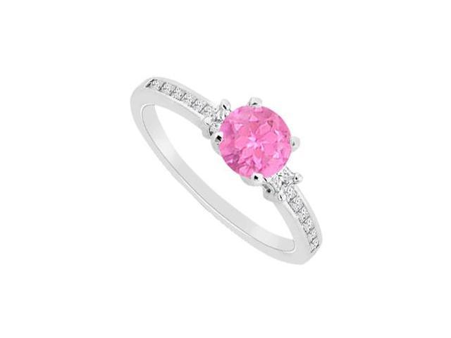 Round Pink Sapphire with Diamond Princess Cut Engagement Ring in 14K White Gold 0.75 Carat TGW