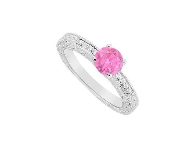 Diamond Engagement Ring with Pink Sapphire 0.60 Carat TGW in 14K White Gold