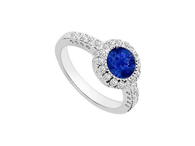 Sapphire and Diamond Halo Engagement Ring  14K White Gold - 1.25 CT TGW