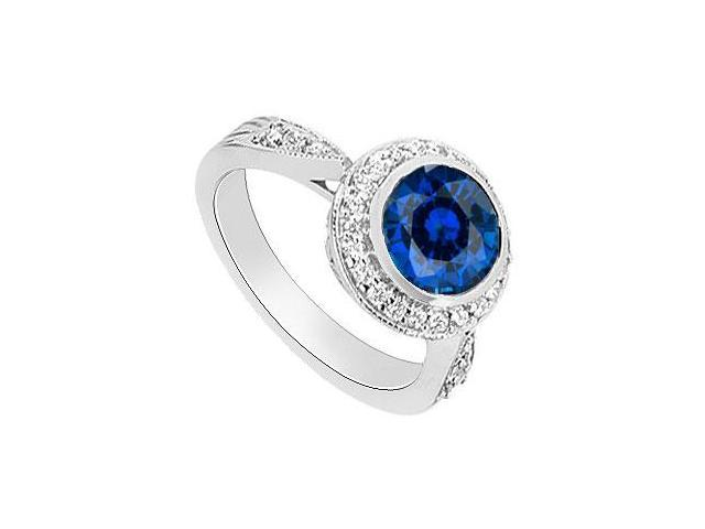 Diffuse Sapphire and Diamond Halo Engagement Ring 14K White Gold 2.30 Carat Total Gem Weight