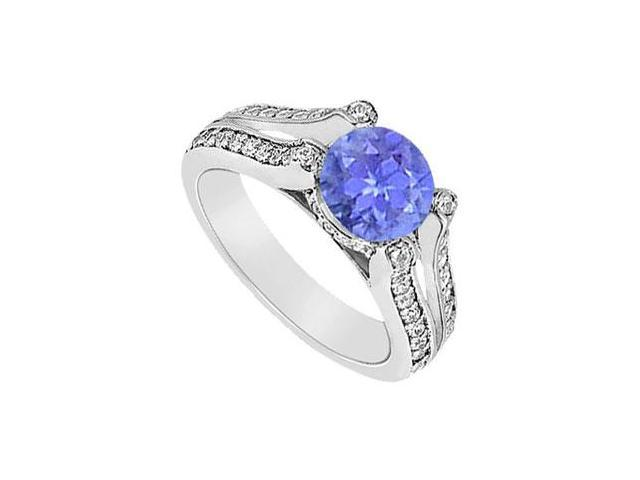 December Birthstone Created Tanzanite and CZ Engagement Ring in 14K White Gold 1.00 ct.tgw