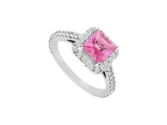Square Halo Engagement Rings with Created Pink Sapphire and CZ in 14K White Gold 1.00.ct.tgw