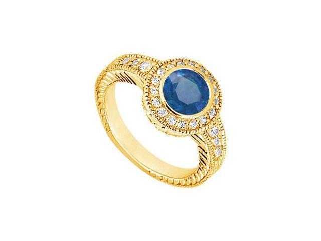Sapphire and Diamond Engagement Ring  14K Yellow Gold - 0.75 CT TGW