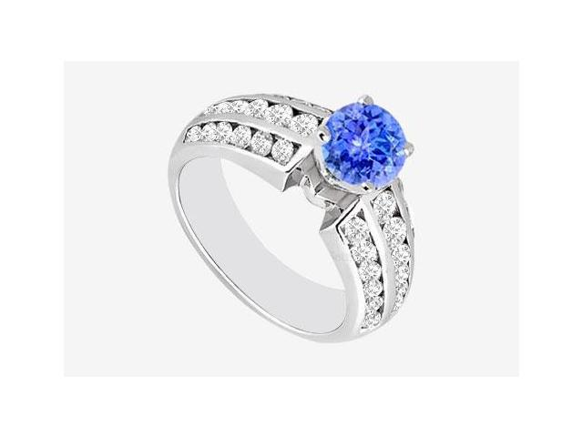 Engagement Ring Prong Setting 14K White Gold Tanzanite with Cubic Zirconia1.60 Carat TGW