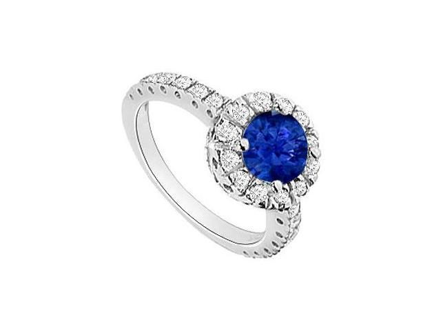 Sapphire and Diamond Halo Engagement Ring  14K White Gold - 1.30 CT TGW