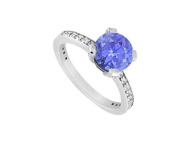 Prong Set December Birthstone Created Tanzanite  and CZ Engagement Ring in 14K White Gold 1ct tw