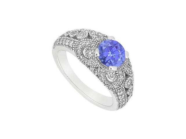 December Birthstone Created Tanzanite  CZ Filigree Engagement Rings in 14K White Gold 1 ct.tgw