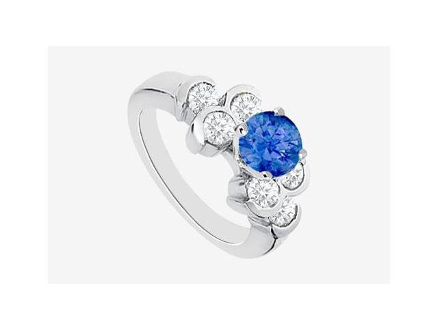 Engagement Ring with Diffuse Sapphire and Bezel Set Cubic Zirconia in 14K White Gold 1.70 Carat