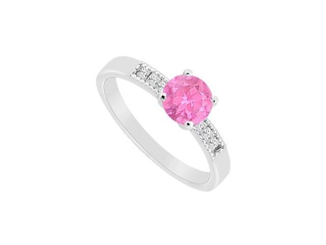 Pink Sapphire 0.50 Carat and Diamond Princess Cut Engagement Ring in 14K White Gold 0.60 CT TGW