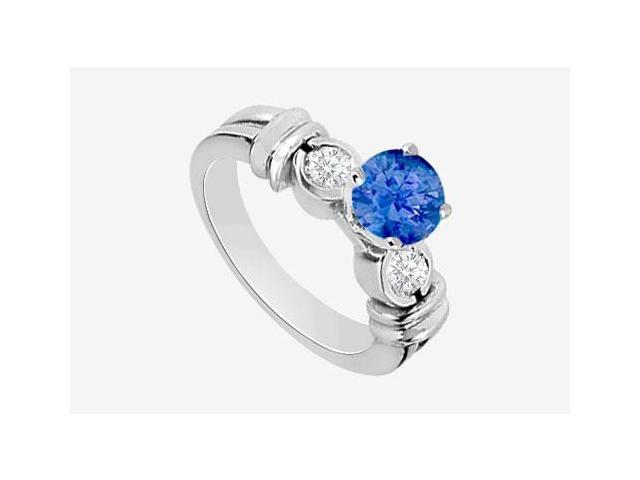 14K White Gold engagement ring with Diffuse Sapphire and Cubic Zirconia 1.30 Carat TGW