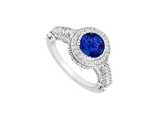 Created Sapphire and CZ Halo Engagement Rings in 14K White Gold 2.00 ct.tgw