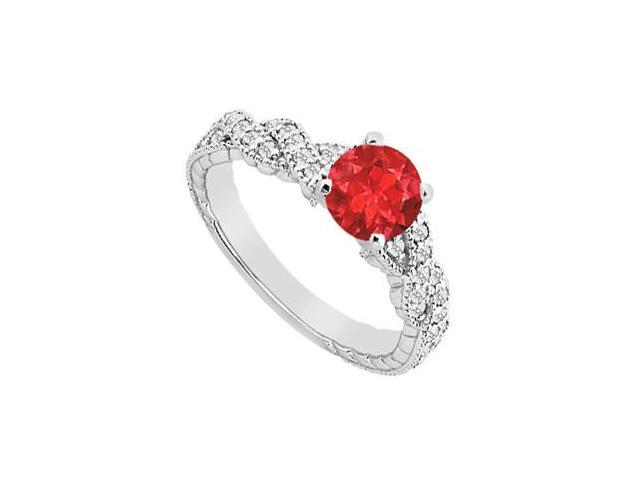 1 Carat GF Bangkok Ruby Engagement Ring with Crossover Cubic Zirconia in 14K White Gold 1.25 Car