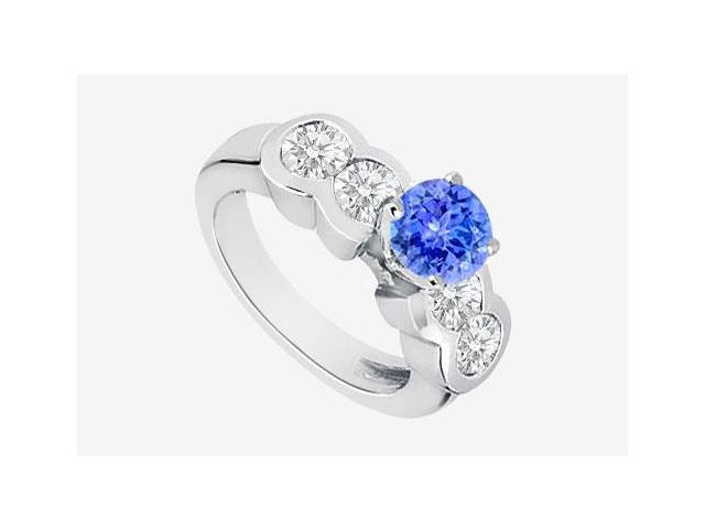 Tanzanite and Cubic Zirconia Engagement Ring in 14K White Gold 3.20 Carat TGW