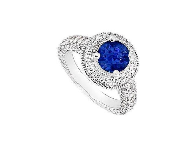 Sapphire and Diamond Halo Engagement Ring  14K White Gold - 2.15 CT TGW
