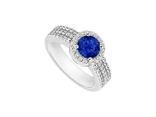Sapphire and Diamond Halo Engagement Ring  14K White Gold - 1.60 CT TGW