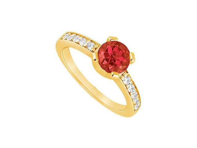 Ruby and Diamond Engagement Ring  14K Yellow Gold - 0.66 CT TGW