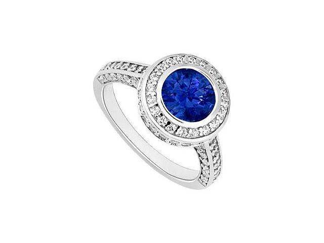Sapphire and Diamond Halo Engagement Ring  14K White Gold - 2.00 CT TGW