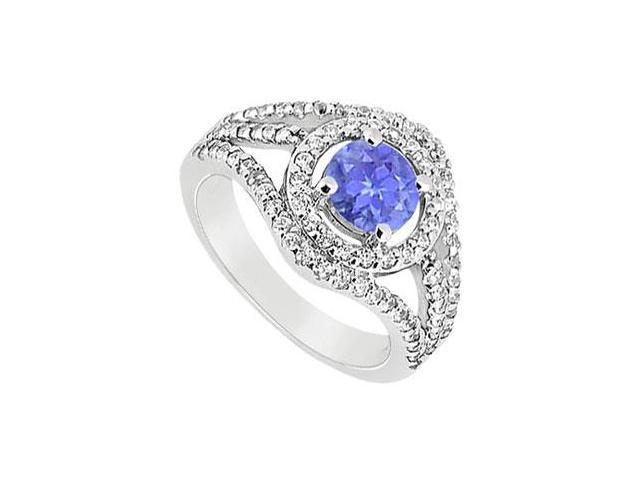 December Birthstone Created Tanzanite Split Shank Engagement Rings in 14K White Gold 1.25 ct.tgw