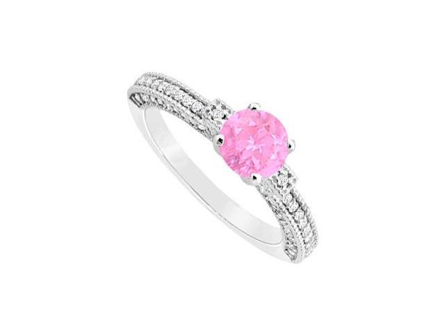 Created Pink Sapphire and Cubic Zirconia Milgrain Engagement Ring 14K White Gold 1.00.ct.tgw