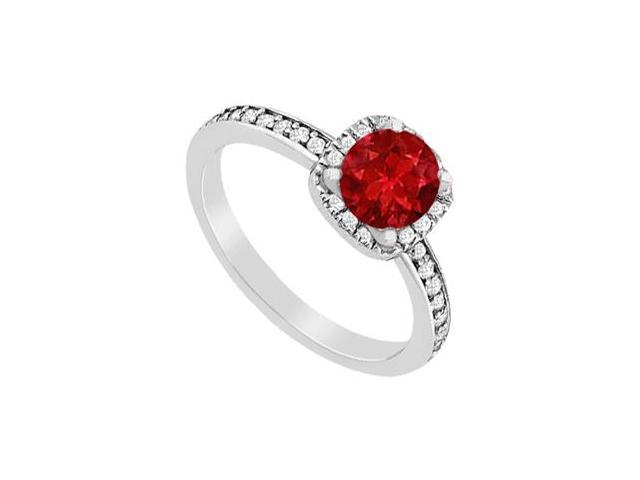 Diamond and Ruby Halo Engagement Ring in White Gold 14K Total Gem Weight of 1.05 Carat