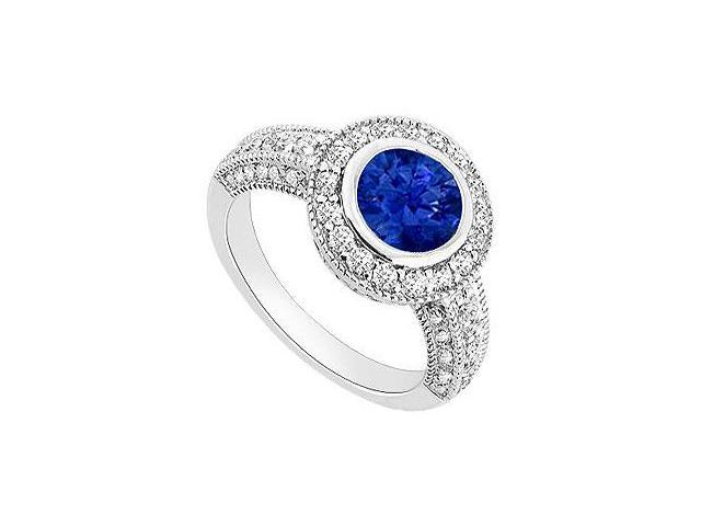 Sapphire and Diamond Halo Engagement Ring  14K White Gold - 1.75 CT TGW