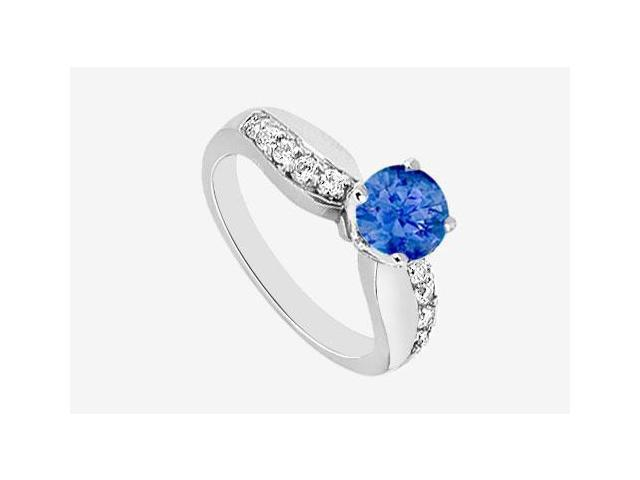 Engagement Ring Diffuse Sapphire and Cubic Zirconia in 14K White Gold 1.25 Carat TGW
