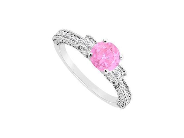 September Birthstone Created Pink Sapphire  CZ Milgrain Engagement Ring 14K White Gold 1ct.tgw