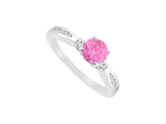 September Birthstone Created Pink Sapphire and CZ Engagement Ring in 14K White Gold 0.75.ct.tgw