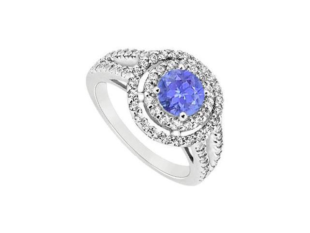 December Birthstone Created Tanzanite Halo Engagement Rings in 14K White Gold 1.25 ct.tgw