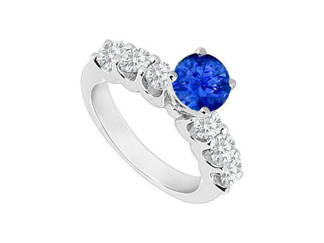 14K White Gold  Sapphire and Diamond Engagement Ring 0.80 CT TGW