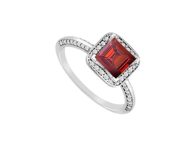 Ruby Princess Cut and Pave Diamond Engagement Ring in 14K White Gold 1.10 Carat Total Weight