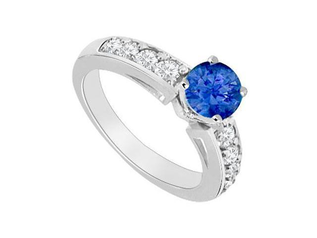 14K White Gold  Sapphire and Diamond Engagement Ring 1.00 CT TGW
