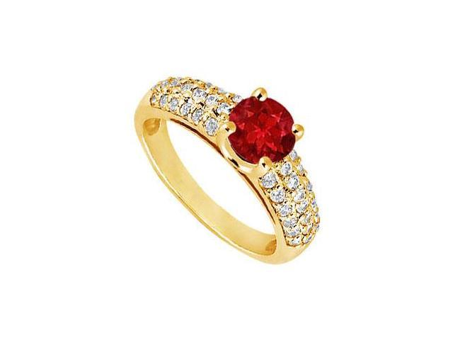 Ruby and Diamond Engagement Ring  14K Yellow Gold - 1.50 TGW