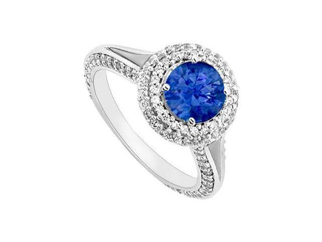 Sapphire and Diamond Engagement Ring  14K White Gold 2.00 CT TGW