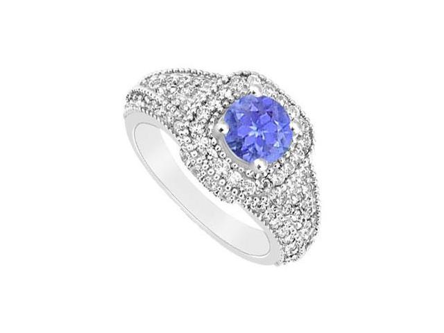 December Birthstone Created Tanzanite and CZ Wide Band Engagement Rings in 14K White Gold